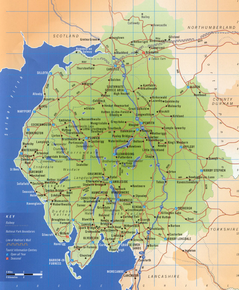 lake district lakes map Map Of The English Lake District Lakeland lake district lakes map